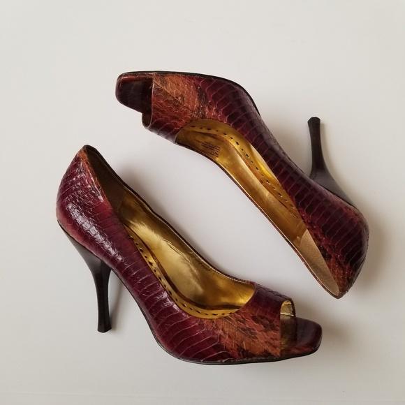 41d1d9d44c2 BCBGirls Shoes - BCBG GIRLS Python Stilettos sz7